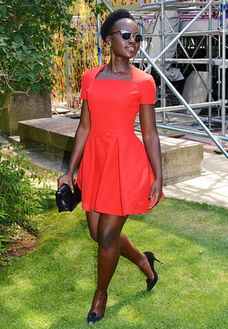 sunglasses dior sunglasses silver sunglasses mirrored sunglasses dress summer dress orange dress short dress pumps high heel pumps black pumps clutch black clutch celebrity style celebrity lupita nyong'o