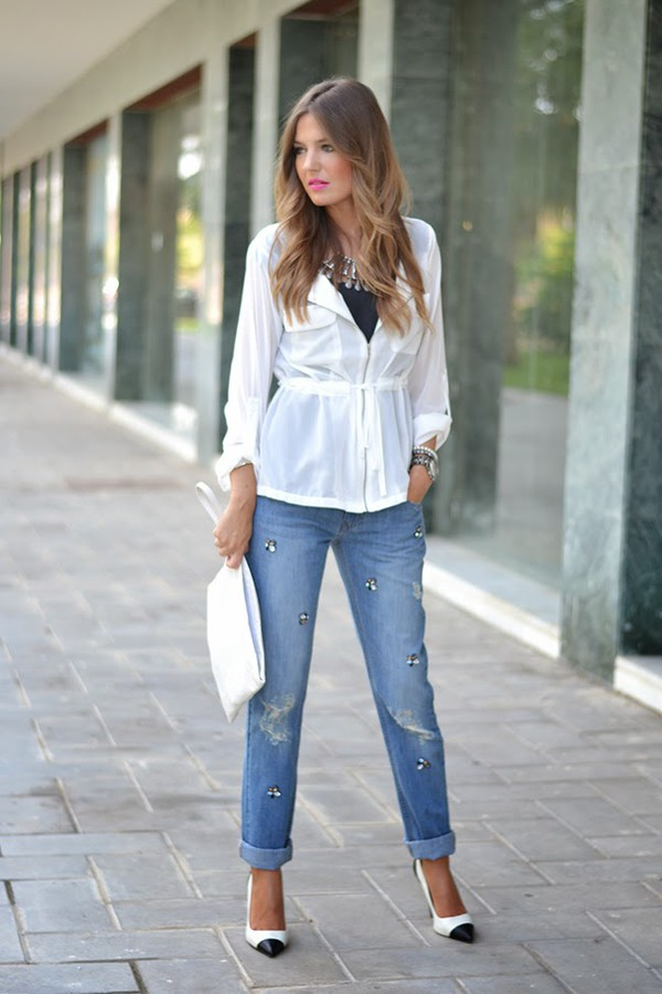 mi aventura con la moda blogger jacket jeans top t-shirt jewels bag make-up
