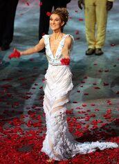 dress,white dress,maxi dress,long dress,v neck dress,plunge v neck,v neck,ruffle,ruffle dress,gloves,celebrities in white,celebrity,singer