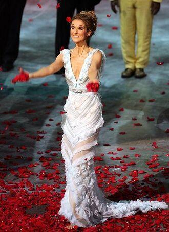 dress white dress maxi dress long dress v neck dress plunge v neck v neck ruffle ruffle dress gloves celebrities in white celebrity singer