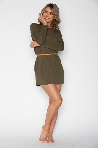 dress green long sleeves olive green tunic bikiniluxe