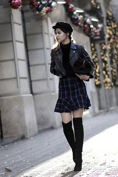 shirt tumblr mini skirt ruffle tartan skirt tartan plaid skirt plaid boots black boots over the knee boots thigh high boots top black top turtleneck jacket black jacket black leather jacket leather jacket cropped jacket hat black hat fisherman cap