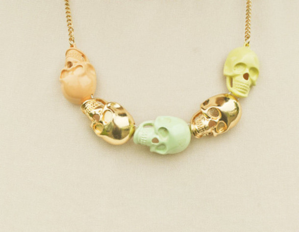 jewels necklace skulls mint lemon skull