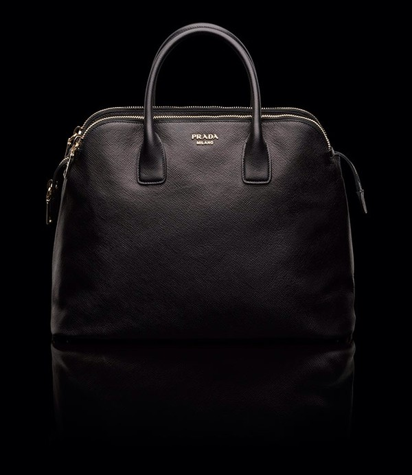 bag prada black leather