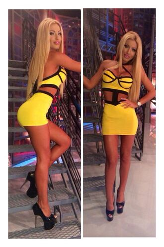 dress black summer fashion style cute sexy bodycon bodycon dress girly instagram tumblr sexy dress yellow short dress cut-out yellow dress tight triangle dress cut-out dress