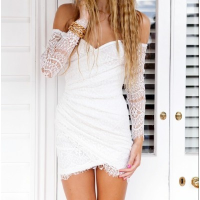 Asymmetrical Boat Neck Lace Dress