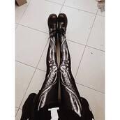 tights,goth,skeleton,bones,black