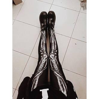 tights goth skeleton bones black