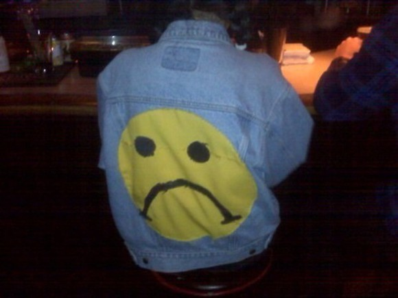 smiley face jacket frowny face lol wheretoget?