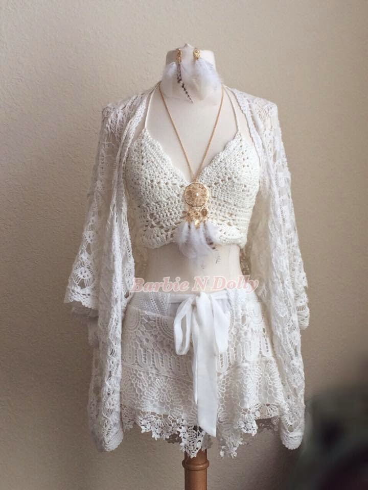 Barbie n dolly lens shop: crochet lace outfit