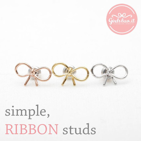 gift jewels jewelry simple cute earrings ribbon earrings ribbon studs
