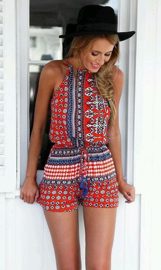 romper aztec top aztec skirt aztec shorts boho chic indie boho hippie boho patterned dress style summer top orange multicolor pattern hat pajamas cute top blue romper red romper red pattern romper fashion trendy beach summer dress red dress blue dress black dress red