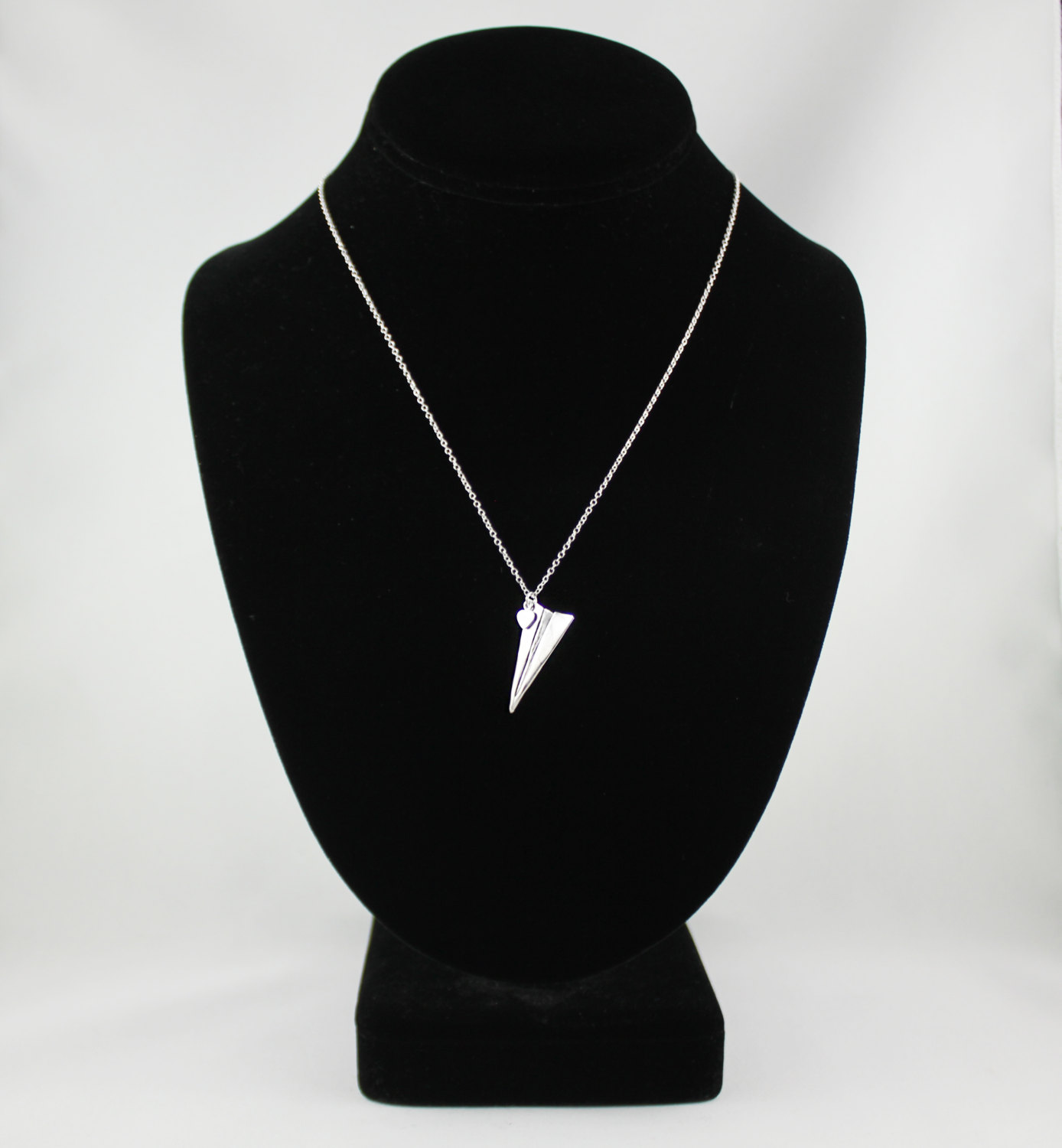 Handmade Paper Airplane Necklace, Silver Jewelry, Paper Plane Necklace, Paper Airplane Charm on 18