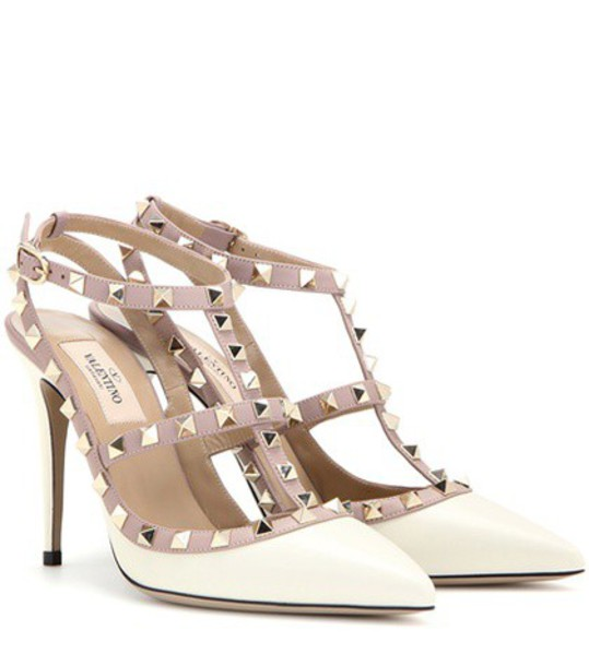 Valentino Rockstud Leather Pumps in white