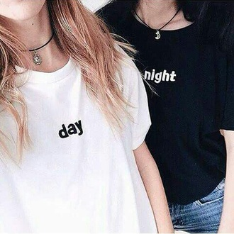 t-shirt kozy black and white black trendy hippie day and night moon boho boho chic sun magic choker necklace yin yang weheartit