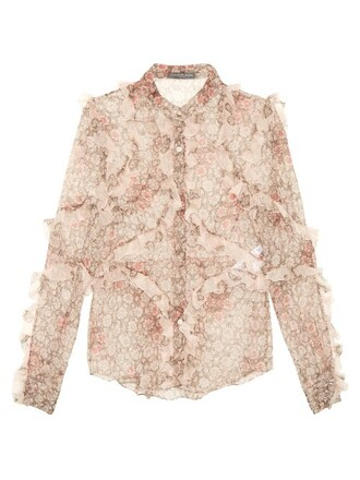 blouse floral print silk pink top