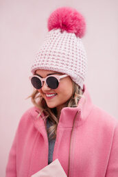 hat,tumblr,beanie,pom pom beanie,pink beanie,sunglasses,all pink everything,all pink wishlist
