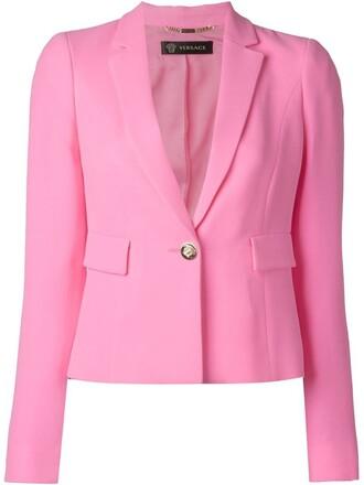 blazer cropped purple pink jacket