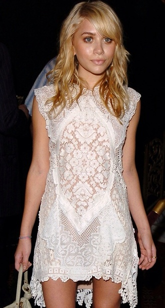 dress white lace dress mary kate olsen printed dress olsen sisters lace dress lace white embroidered