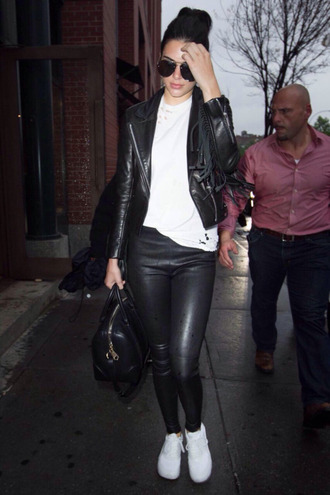 t-shirt top kendall jenner sneakers leggings jacket biker jacket shoes leather leggings