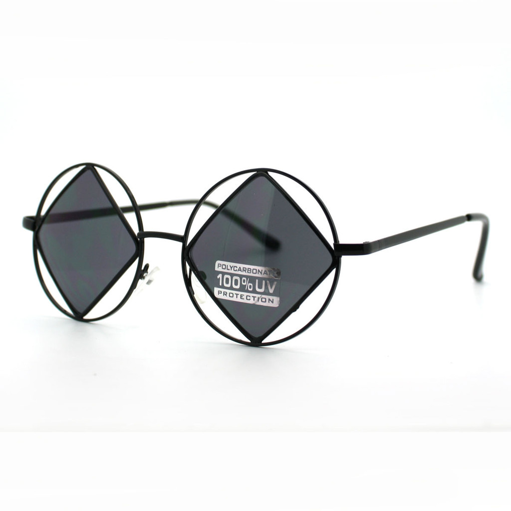 Double Circle and Diamond Metal Rim Runway Sunglasses (More Colors)
