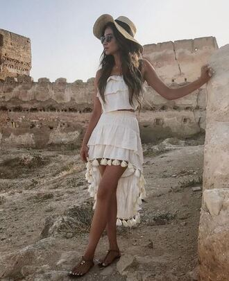 skirt shay mitchell white white dress summer outfits blouse instagram