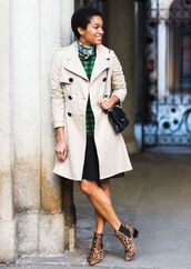 shoes,printed boots,printed ankle boots,ankle boots,boots,animal print,leopard print,skirt,black skirt,pleated skirt,sweater,checkered,green sweater,trench coat,coat,nude coat,bag,black bag,shoulder bag,scarf,fall outfits,streetstyle