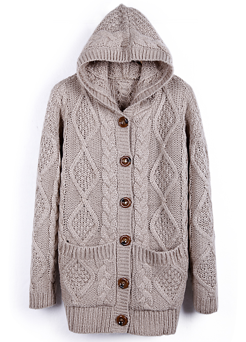 Hooded Long Sleeve Cardigan Sweater Coat - Sheinside.com