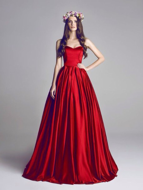 dress red dress prom dress red prom satin strapless wedding sexy graduation dress formal dress evening dress strapless dress style long prom dress maxi dress long dress flower crown