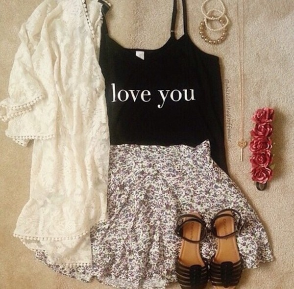 tank top tank top love you skirt cardigan black cute jacket jewels shoes