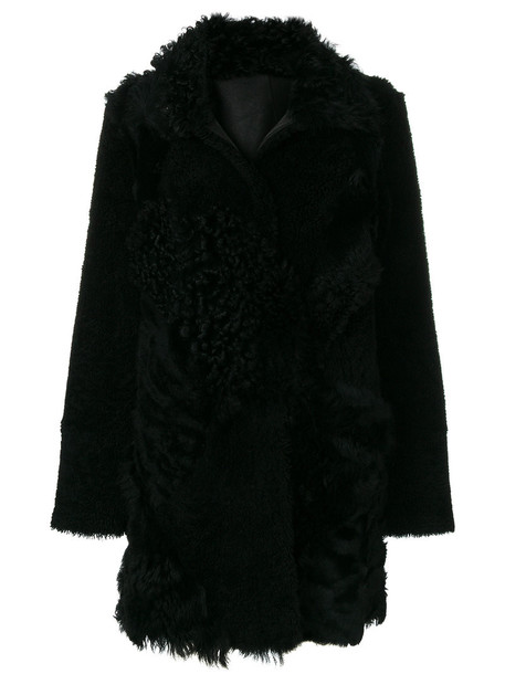 DROME coat fur fox women black