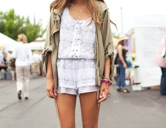 bodysuit dress clothes hipster hippie romper jumpsuit playsuit white beautiful sexy pretty jacket