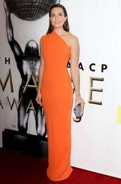 dress,mandy moore,orange,orange dress,one shoulder dress
