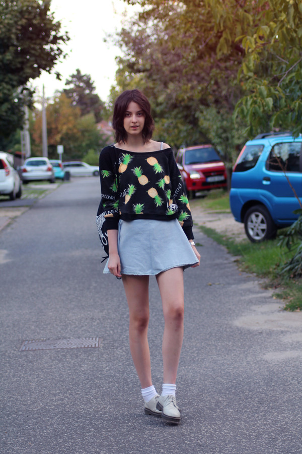 mes memos sweater skirt bag shoes