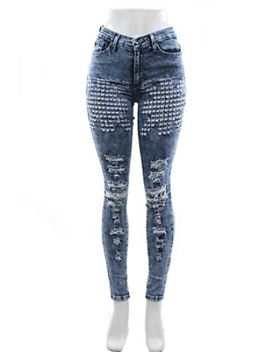 Distressed High Waist Jeans   Clothing   Womens Clothing, Shoes, Jewelry & Plus Sizes   B. De'Lish