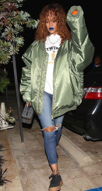 jacket bomber jacket rihanna creepers ripped jeans khaki bomber jacket oversized jacket oversized coat