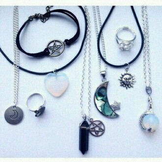 jewels necklace moon sun crystal quartz star