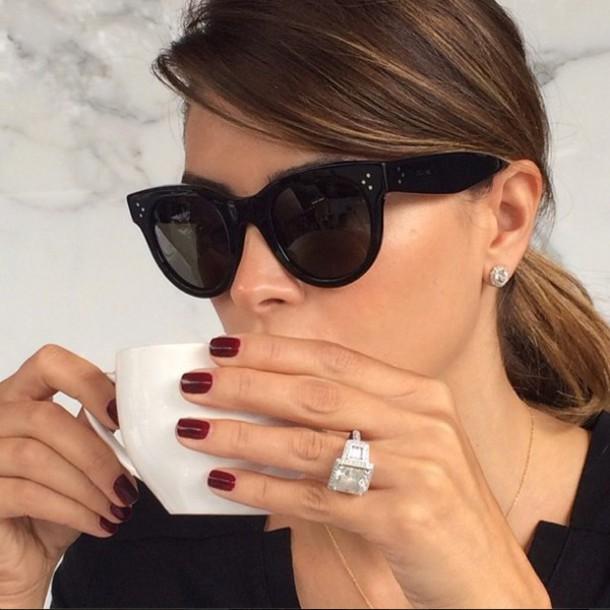 Sunglasses, Celine, Black Sunglasses, Engagement Ring