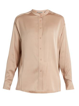 blouse silk satin light pink light pink top