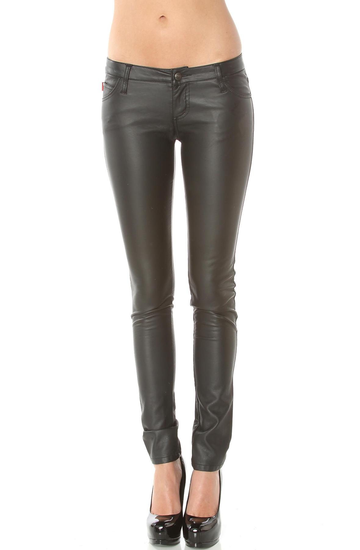 Tripp nyc pants deville pleather in black