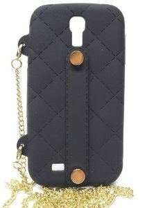 "Crossbody wearable silicone purse case with 48"" gold chain for samsung galaxy s4 (black): cell phones & accessories"