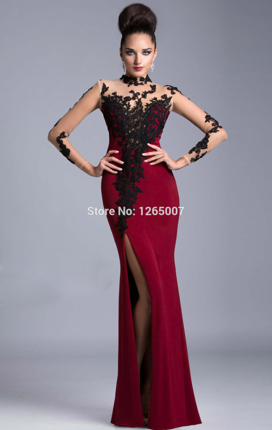 Aliexpress.com : Buy 2014 High Neck Long Sleeves Black Lace Beaded Red Wine Fitted Mermaid Mesh Back Prom Dresses Fashion Backless Long Dress from Reliable beaded lace dress suppliers on SFBridal