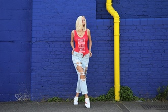 meri wild blogger red swimwear adidas shoes ripped jeans dope swimwear