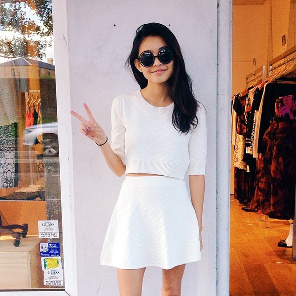 blouse skirt cropped sweater cropped white skirt