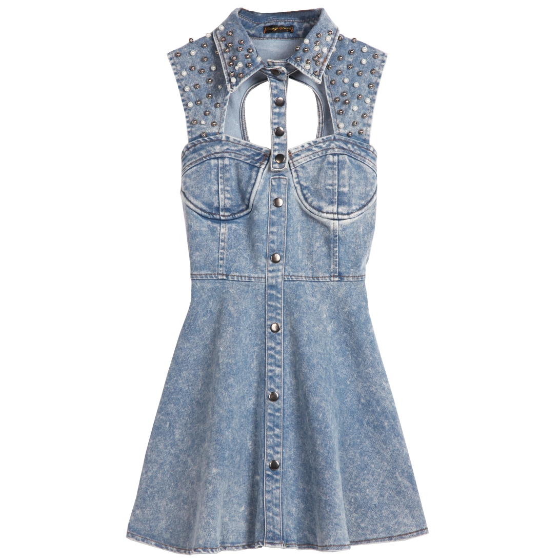 Free shipping blue sleeveless sequined hollow backless denim dress from gisele on storenvy