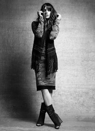 dress vest booties lea michele fringes editorial