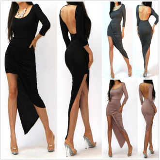 dress twisted dress asymmetrical high-low dresses sexy dress maxi dress little black dress draped backless dress long sleeve dress hi lo dress bodycon dress bodycon dress clubwear