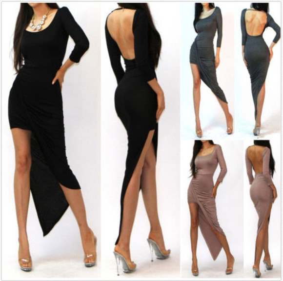 dress asymetric skirt asymmetrical bodycon twisted dress asymetric dress high-low dresses sexy party dresses sexy dress maxi sexy white dress little black dress draped dress backless dress long sleeve dress hi lo dress bodycon dresses club dress clubwear