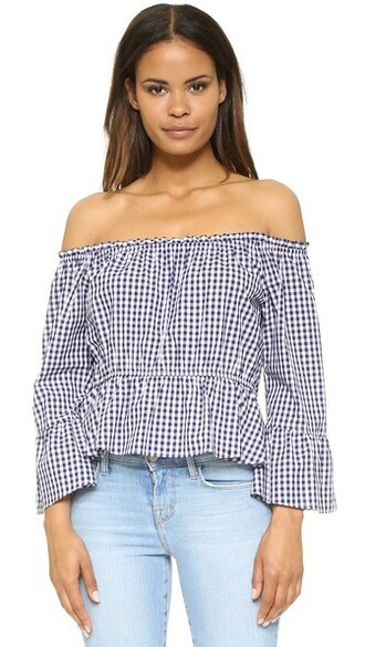 top flare navy white gingham