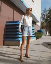 shorts,denim shorts,high waisted,shoes,shirt,bag